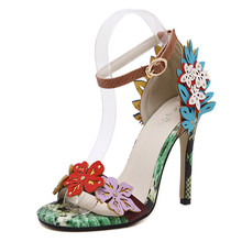 New 2016 Famous brand same style women sandals sweet contrast color flowers buckle summer wedding shoes snake pattern high heels(China (Mainland))
