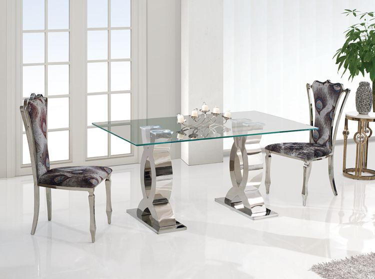 Top Dining Table With Stainless Steel Frame Modern High Quality Dining
