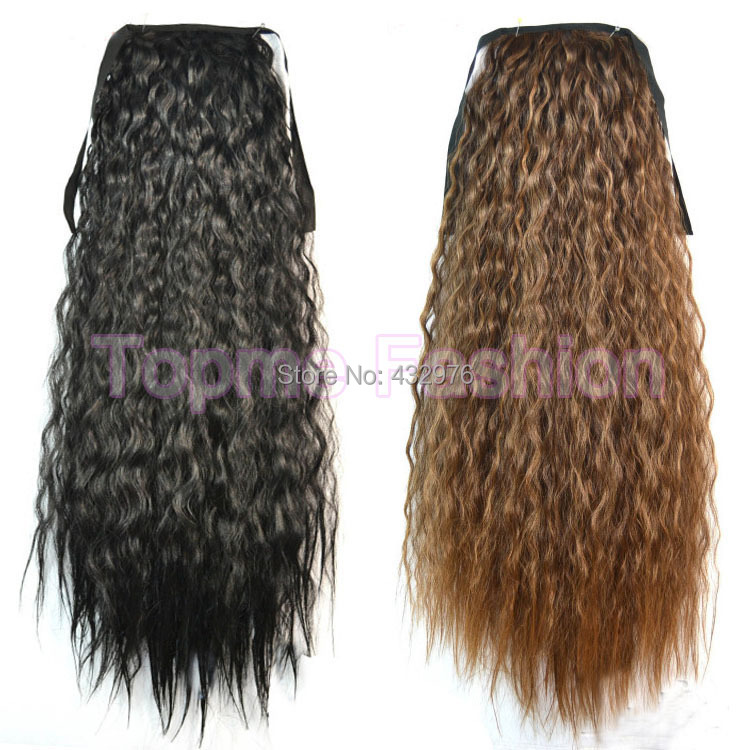 Fashion Women Ponytails Hair Extensions Black Brown Blonde Long Curly Ponytail Synthetic Hair