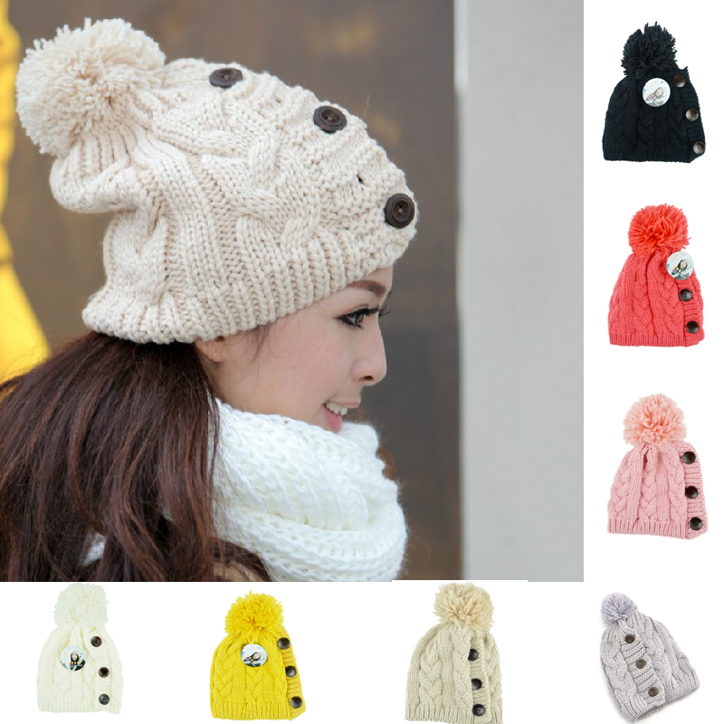 New 2016 Winter Hats and Caps Women Warm Wool Hats Gilrs Women's Knitted Hats Fashion Caps Button Twisted Beanie Cap Woman(China (Mainland))