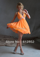 New Arrival Chiffon V-neckline Crystals Bodice Short Elegant Cocktail Dresses(China (Mainland))