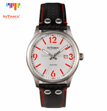 InTimes IT-1066L Red wholesale Watches Men Luxury Brand  Big Number Steel Case Leather Strap Japan Movt. Quartz Watch(China (Mainland))