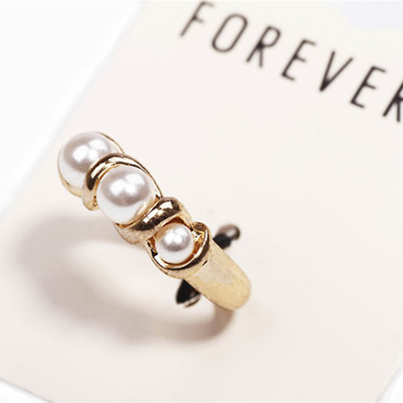 OCEAN vintage fine imitation white pearl antique gold rings High Quality Brand Ladies Ring for women charm jewelry J172(China (Mainland))