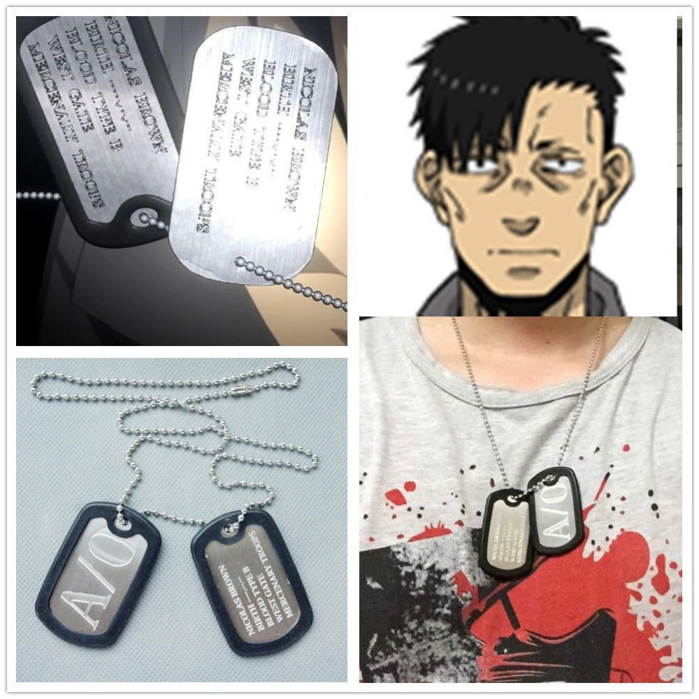 Cosplay Anime GANGSTA A/0 Nicolas Brown Mercenary Dog Tag necklace pendant(China (Mainland))