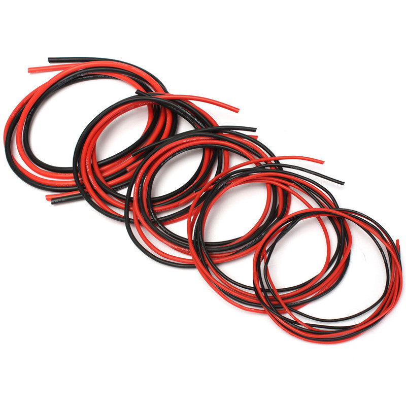 2pcs 1M AWG 12-20 Soft Silicone Wire Cable Red & Black Gauge Rubber Electrical High Quality(China (Mainland))