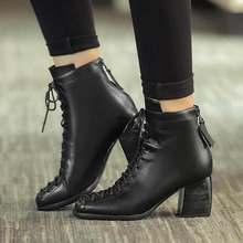 Quảng trường thời trang toe ren-up chính hãng da rắn phụ nữ khỏa thân mắt cá chân khởi động gót chân dày thương hiệu giày phụ nữ quan hệ nhân quả xe máy khởi động L74(China)