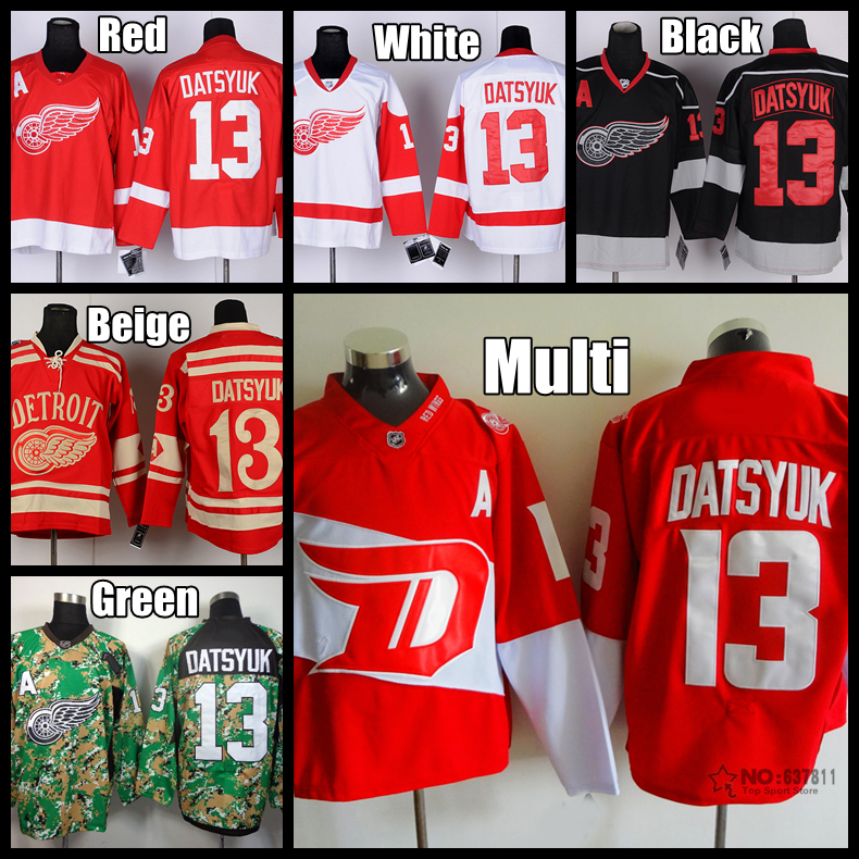 New Stadium Series Detroit Red Wings Hockey Jerseys #13 Pavel Datsyuk Jersey Home Red Camo Black Stitched Jersey A Patch(China (Mainland))