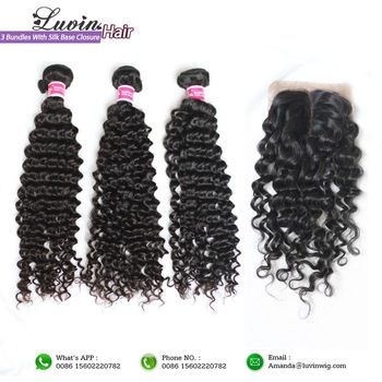 Curly Virgin Hair 3 Pieces Brazilian Virgin Hair With Silk Base Closure Total 4PCS/Lot 100% Unprocessed Rosa Hair Products