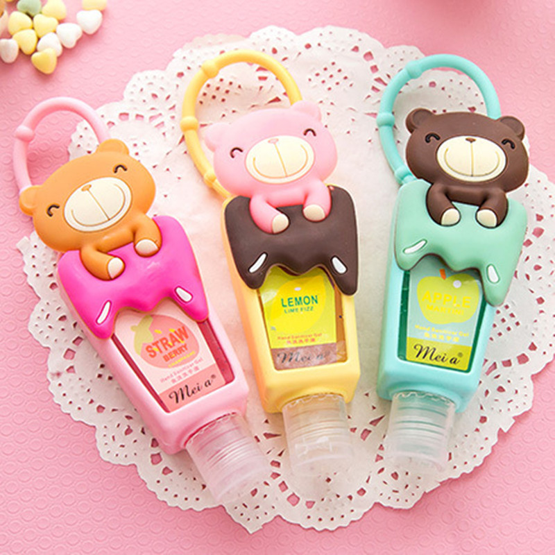YGS-Y123 Lovely Teddy Bear 1pcs hung Travel portable Mini Plastic Bottle hand sanitizer/Makeup fluid bottle Bathroom products(China (Mainland))