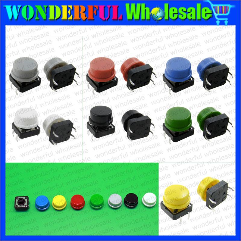 Гаджет  20PCS Tactile Push Button Switch Momentary 12*12*7.3MM Micro switch button + a24 Switch Cap (20PCS 7 colors Tact Cap) None Электротехническое оборудование и материалы
