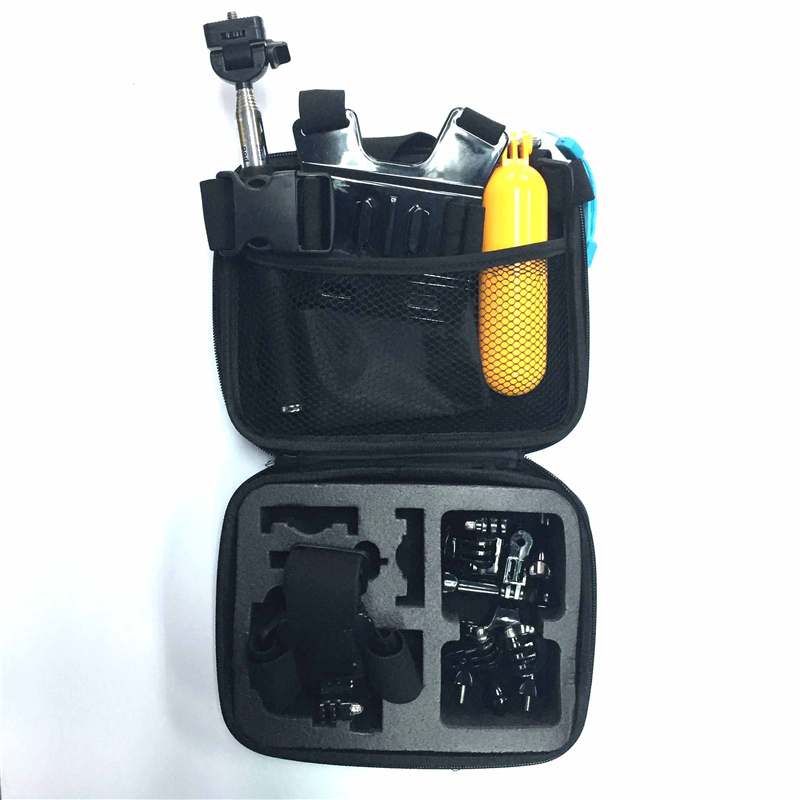 Xiaomi Yi Accessories Set 13 in 1 Helmet Harness Chest Belt Head Bike Mount Strap Monopod Case for Gopro Hero 4 3+ SJ4000 GS40