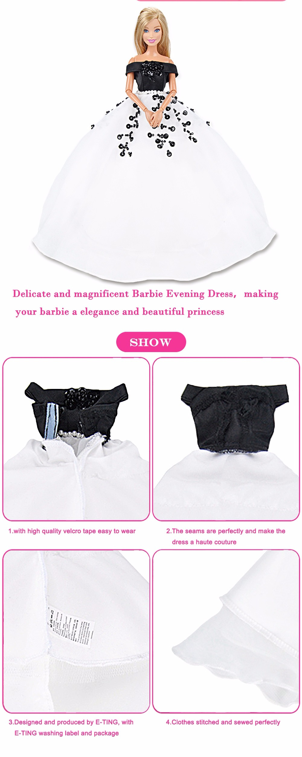 E-TING Dolls Garments Promenade Costume White Lace Marriage ceremony Night Social gathering Robe For Barbie Doll