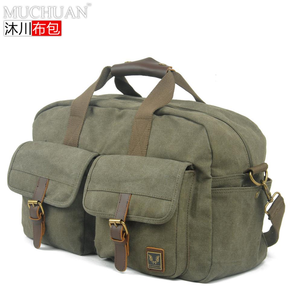 Canvas overnight bag bulk bags men large-capacity leather Luggage single shoulder gym sports - Best2Mall_com store