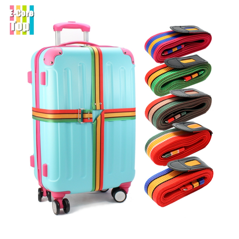 4.2M Rainbow Cross Travel Luggage Suitcase Strap Adjustable Baggage Belt Metal Buckle Double Protect Nylon Durable - E-Core Top store