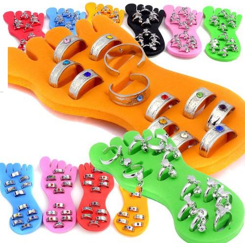72pcs Wholesale Jewelry Lots Crystal Band Pendant Toe Rings + 6pcs Display Pad Free Shipping  Free Shipping [D03*6](China (Mainland))