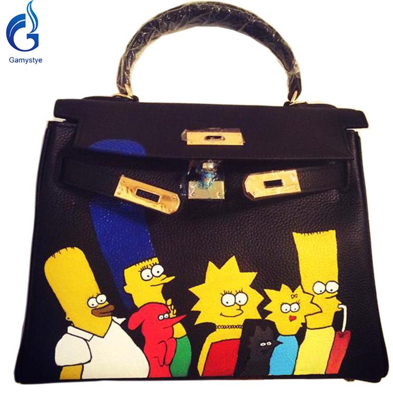 GAMYSTYE Graffiti Custom Women Messenger Bags Hand Painted painting Anime fun bags handbags real genuine leather women bags 28cm(China (Mainland))