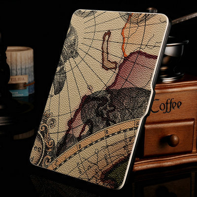 Slim Fashion Cover For Amazon Kindle Paperwhite Case 6'' Ereader Earth Pattern Litchi Leather Case for Kindle Paperwhite Cover(China (Mainland))