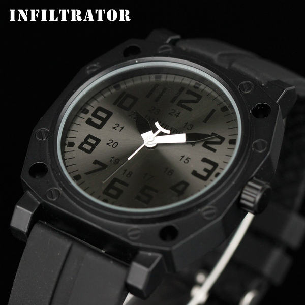 INFANTRY Men's All Black Fashion Military Outdoor Sport Silicone Analog Quartz Wrist Watch NEW Army Top Sale Brand Watch Russia(Hong Kong)