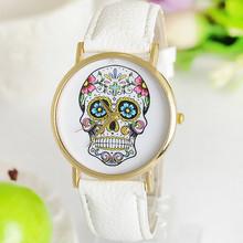 Nueva moda Geneva Watch casual cráneo para mujer del reloj de oro de cuarzo reloj de pulsera vestido regalo de la muchacha relogio feminino-w004