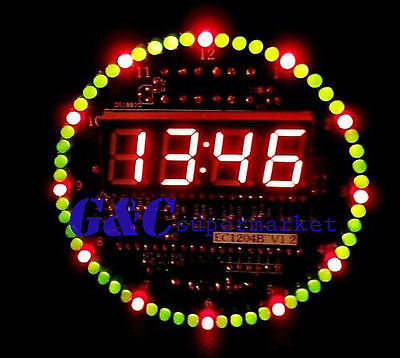DIY DS1302 Rotating LED Electronic Digital Clock Kit 51 SCM Learning Board 5V(China (Mainland))