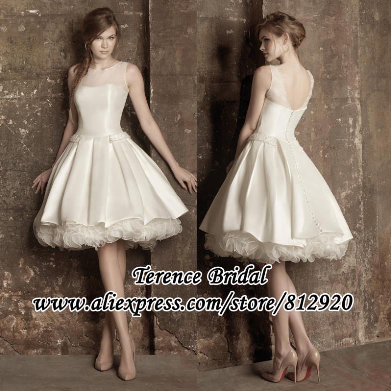 Ivory bridal wedding dress knee length party prom ball for Ivory knee length wedding dresses