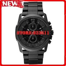 Envío libre DZ4180 hombres cuarzo reloj mundial Mega jefe negro Dial Steel Band negro resistente al agua caja Original DZ 4180