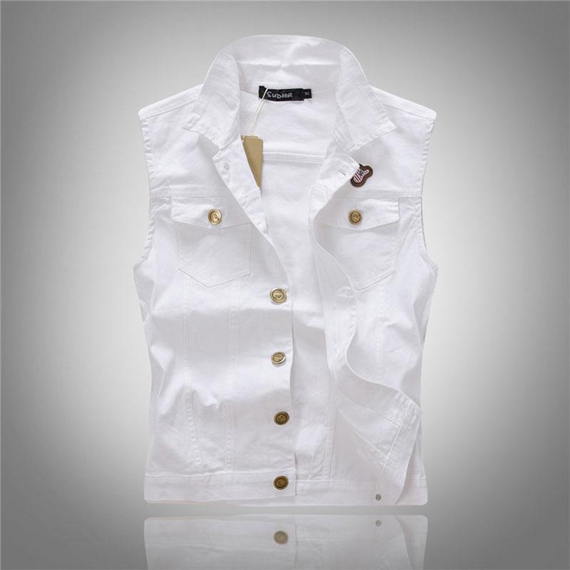 Men White Denim Vest Fashion Casual Waistcoat Sleeveless Special Logo Motorcycle Club Autumn Denim Jacket Vest M-XXXL(China (Mainland))
