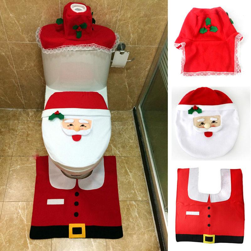 2015 hot 1set christmas fancy santa toilet seat cover rug bathroom set