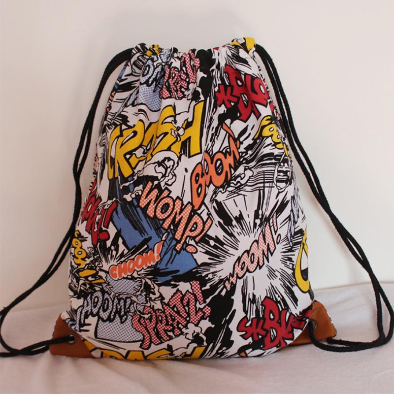 2016 new fashion Boys and girls Backpack cartoon printing travel softback women mochila drawstring bag mens backpacks book bags(China (Mainland))