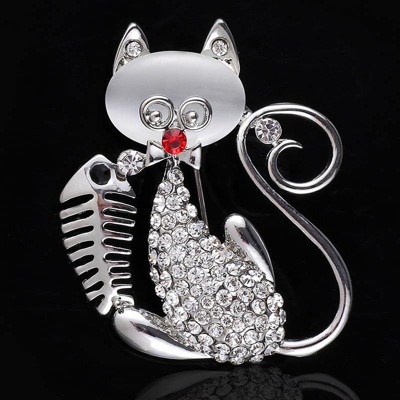 2016 New Fashion Crystal Opal Cute Cat with Fish Brooch Pins , Fashion Jewelry Wholesale HH106(China (Mainland))