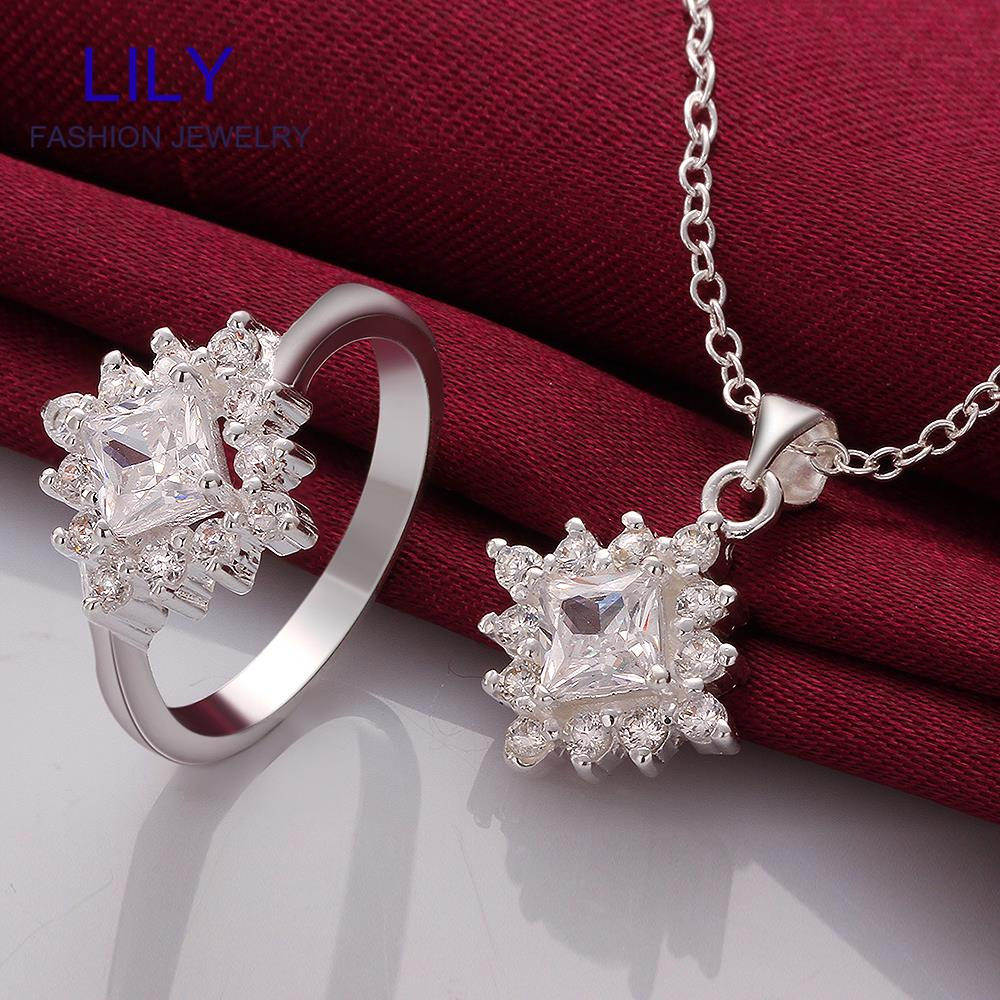 S721 A Wholesale Costume Jewellery Wedding Jewelry Sets Sterling Silver Zircon Necklace And