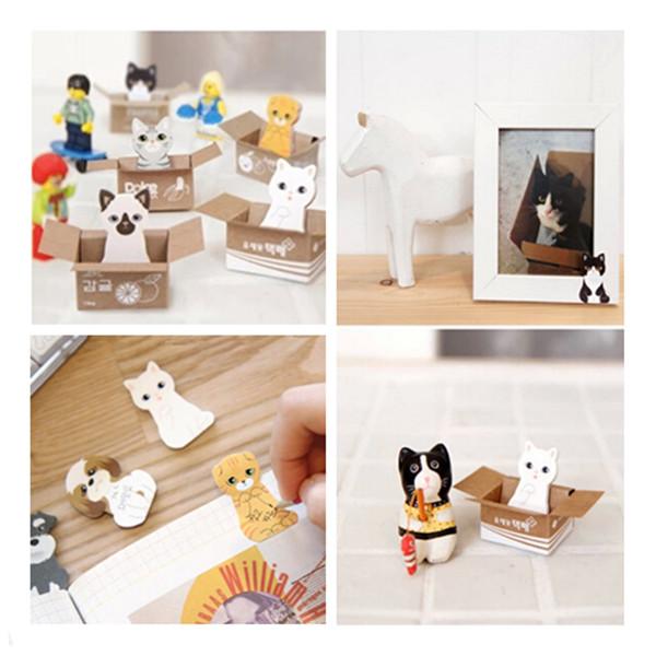 3PCS Free Shipping Kawaii Stationery Cat Sticky Memo Pad/Cute Animal Sticky Notes/Post It Note/Scrapbook Sticker(China (Mainland))