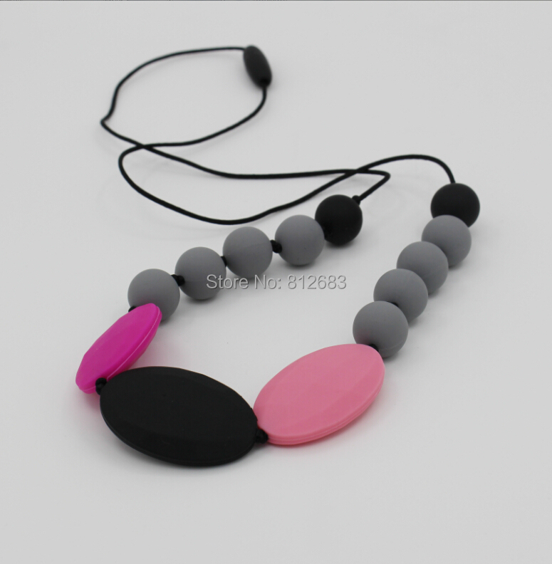 Free shipping Fashion Hot Silicone Teething Necklace & Bracelet for Mom & Baby Chewlry Necklace Food Grade Silicone Rubbe(China (Mainland))