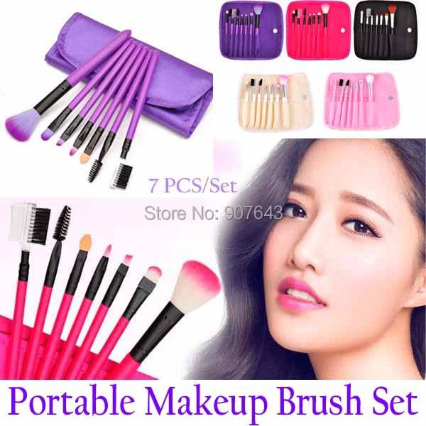 7 PCS/Set Soft Cosmetic portable Practice Makeup Brush Set Tools Make-up Toiletry Kits Synthetic Brand Make Up Brush Set Case(China (Mainland))
