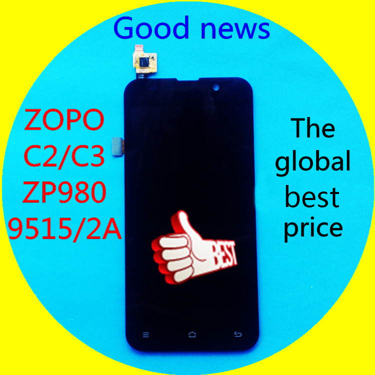 Free Shipping 100% original Lcd screen display+Touch screen digitizer without frame For ZOPO C2 C3 ZP980 ZP980+ 9515 2A