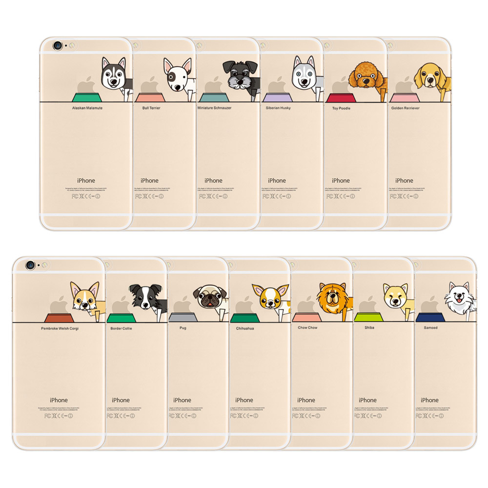 Ultra Slim Thin Soft TPU Case Cover Cartoon Lovely Cute Dog Pet Design Phone Case for iPhone 6/6s 6 Plus/6s Plus(China (Mainland))