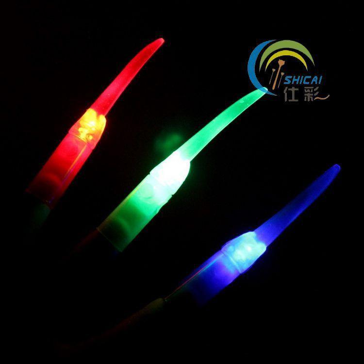 LED flash light emitting finger light long fingernails Halloween party supplies 20pcs/lot(China (Mainland))