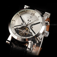 2015 Forsining reloj marca de lujo mecánico automático reloj para hombre Tourbillon reloj militar negro Relojes del cuero