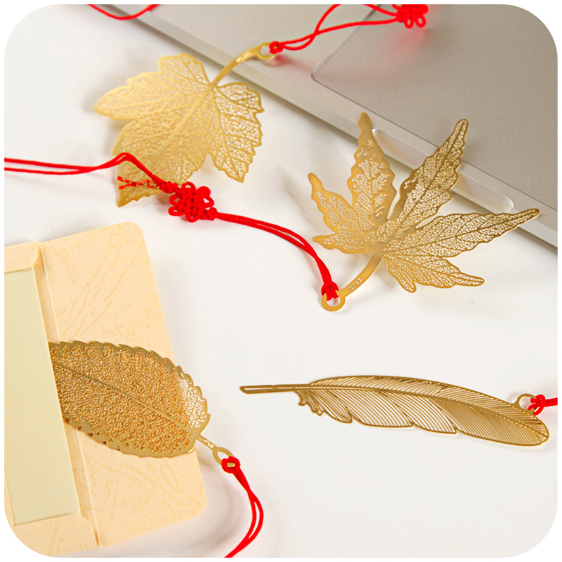 new cute Chinese style bookmarks Mulberry leaf Golden maple leaves Golden feather Parasol leaves(China (Mainland))