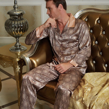 Male Nightwear Real Pyjama 2016 New Men Pajama Sets Pijamas Turn-Down Collar Imitation Silk Sleepwear Full Sleeve Nighty 20506(China (Mainland))