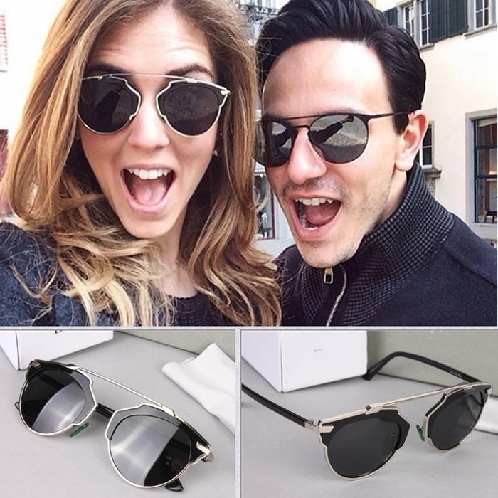 Original With Logo Di Brand Star Style Metal Frame Cat-eye So Real Sunglasses Men/Women Oculos D sunglasses With Original Box(China (Mainland))