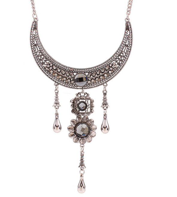 2016 Collar Necklaces & Pendants Vintage Crystal Maxi Choker Statement Silver Collier Femme Boho Fashion Women Jewelry 1N206(China (Mainland))
