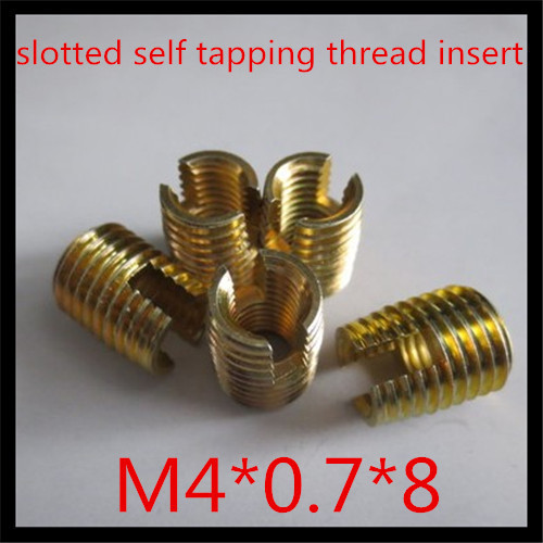100pcs/lot high quality factory direct steel with zinc plated  slotted  self tapping  thread insert m5*0.8*10<br><br>Aliexpress