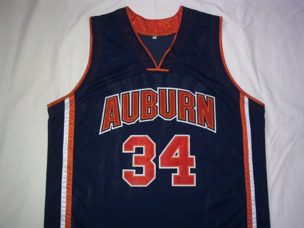#34 CHARLES BARKLEY Auburn University Basketball Jersey Embroidery Stitched Custom any Number and name(China (Mainland))