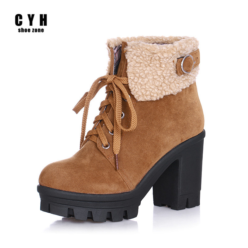 Nubuck Platform Plush Thick High Heels Women Short Chelsea Riding Ankle Boots Brown Army Green Winter Round Toe Ladies Shoes(China (Mainland))