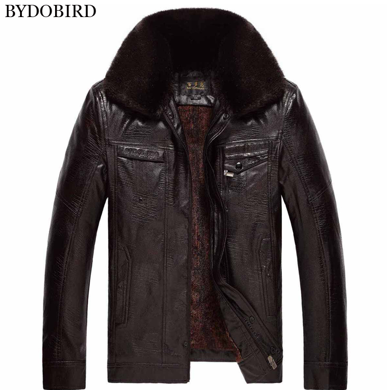 Mens thickening warm winter faux leather jacket men outerwear clothing thermal jackets coats with fur fur collar free shippingОдежда и ак�е��уары<br><br><br>Aliexpress