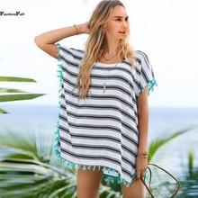2016 Summer Striped Beach Cover Up Bikini Bathing Suit Cover Ups BeachWear Tassel Trim Swimsuit Coverup Dress Saida De Praia 15(China (Mainland))