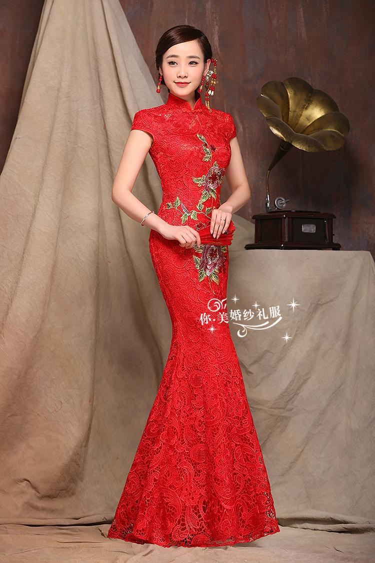 High Quality Red Bridal Wedding Sexy Cheongsam Formal Party Slim Mermaid Dress Embroidery Lace Qipao Elegant Voile Evening Gown