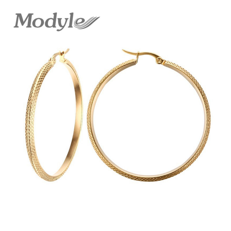 Modyle Hot Sale 18K Gold Plated Big Hoop Earrings Stainless Steel Jewelry High Quality Engagement Earrings Gift(China (Mainland))