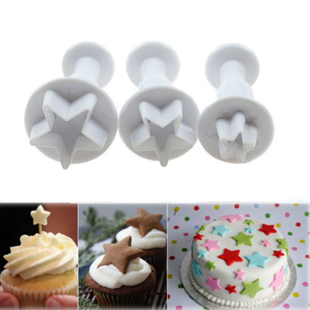 2015 New 3Pcs/Set Mini Star Fondant Cake Decorating Plunger Biscuit Cookies Cutter Diy Mold Christmas Cake Decorating Tools(China (Mainland))